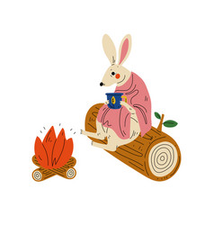 Rabbit sitting bonfire with cup tea animal vector