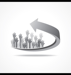 raised hand on business arr vector image