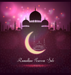 ramadan kareem sale with mosque silhouette vector image