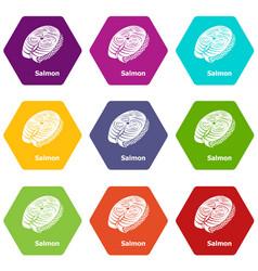 salmon icons set 9 vector image
