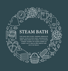 Sauna steam bath room banner with vector