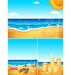 Scenes with beach and ocean vector