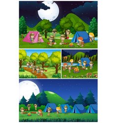 scenes with kids camping in the park vector image