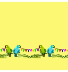 Seamless pattern two parrots with flags vector