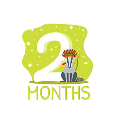 Second month birthday anniversary number and cute vector