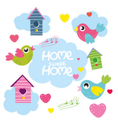 set cartoon birds hearts bird house vector image