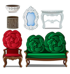 set classic furniture and interior decoration vector image