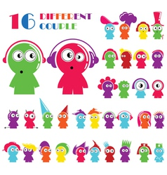 Set of different cartoon character vector