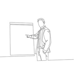 Single continuous line drawing young business vector