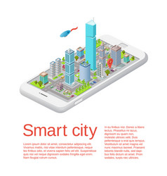 Smart city isometric phone app template vector