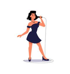 Soloist karaoke singer singing mic song record vector