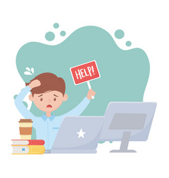 stress at work worried employee with help laptop vector image