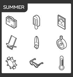 summer outline isometric icons vector image