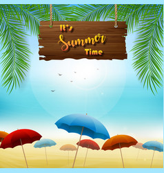 summer time banner design with hanging wooden vector image
