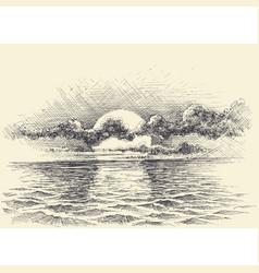 sunset sky on calm sea artistic sketch vector image