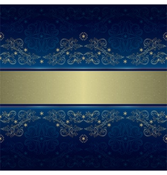 Template with gold floral seamless pattern on blue vector