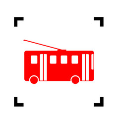 trolleybus sign red icon inside black vector image