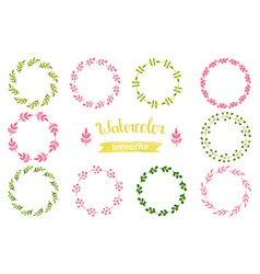 Watercolor set of wreaths frame border vector