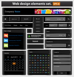 web design elements set black vector image