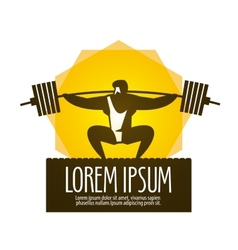 Weight lifter logo design template gym or vector image vector image
