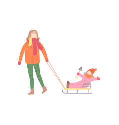 woman walking with little girl on sleigh vector image