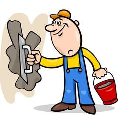 Worker with plaster cartoon vector