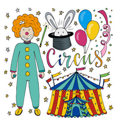 Circus hand drawn collection with colorful clown vector