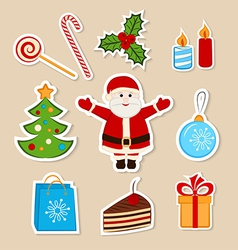 Collection of colorful Christmas stickers vector image vector image
