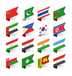 flags of the world asia set 1 vector image vector image