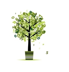 Green tree with numbers leaf in pot for your vector image