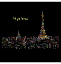 Night Pariscityscape with Eifel Tower Sketch for vector image