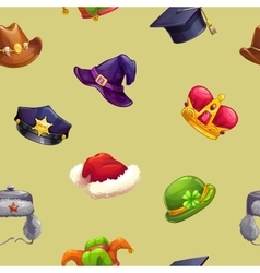 Seamless pattern with funny cartoon hats vector image