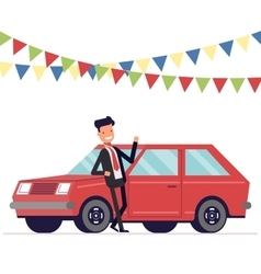 Seller is leaning on the car Businessman next to vector image