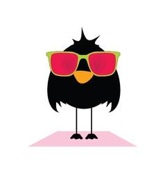 Bird with sunglasses vector