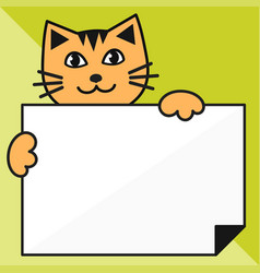 cat with sheet of paper on green background vector image vector image