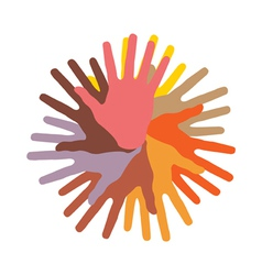 colorful round of hands vector image vector image