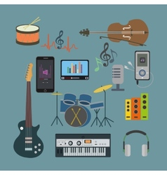 Flat icons music set vector image