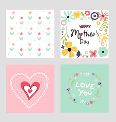 happy mothers day template cards set vector image vector image