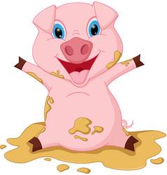 happy pig cartoon playing mud vector image