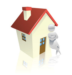 metallic character leaning on house vector image vector image