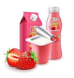 strawberry yogurt packagings 3d photo realistic vector image vector image