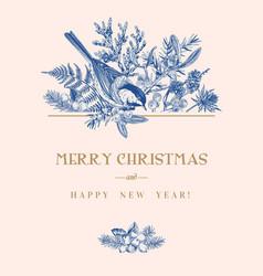 Christmas card with a bird vector