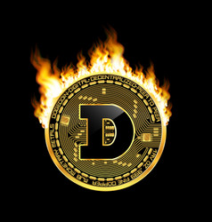 crypto currency dogecoin golden symbol on fire vector image vector image