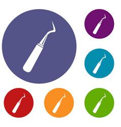 dental probe icons set vector image vector image