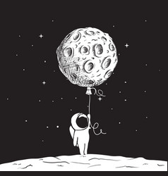 fun astronaut keeps a moon vector image vector image