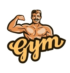 gym logo sport fitness or bodybuilding vector image vector image