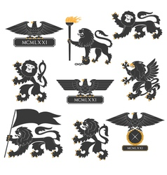 Heraldic lions and eagles set vector image vector image