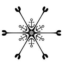 Nautical ornament Anchor Rudder vector image