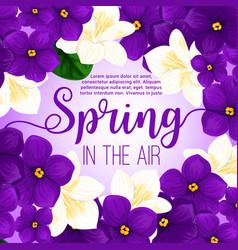spring flower frame greeting card design vector image