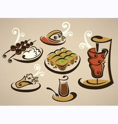 Tasty arabian food vector
